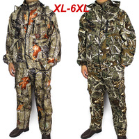 Free Shipping 2014 New Leaf Camouflage Outdoor Hunting Waterproof & Windproof Coats Jacket Set (Jacket + Pants) Big size XL-6XL