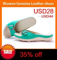 2014 New Summer sandals women's women genuine leather shoes the Beach shoes, women loafers lazy shoes free shipping