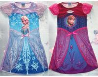 1404z Free shipping short sleeve cartoon Children's veil lace dress girls elsa frozen dress Princess dress 38401407663
