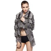 Autumn Winter Women's Genuine Sheep Leather & Natural Rex Rabbit Fur Coat Patchwork Ladies' Slim Outerwear QD70115