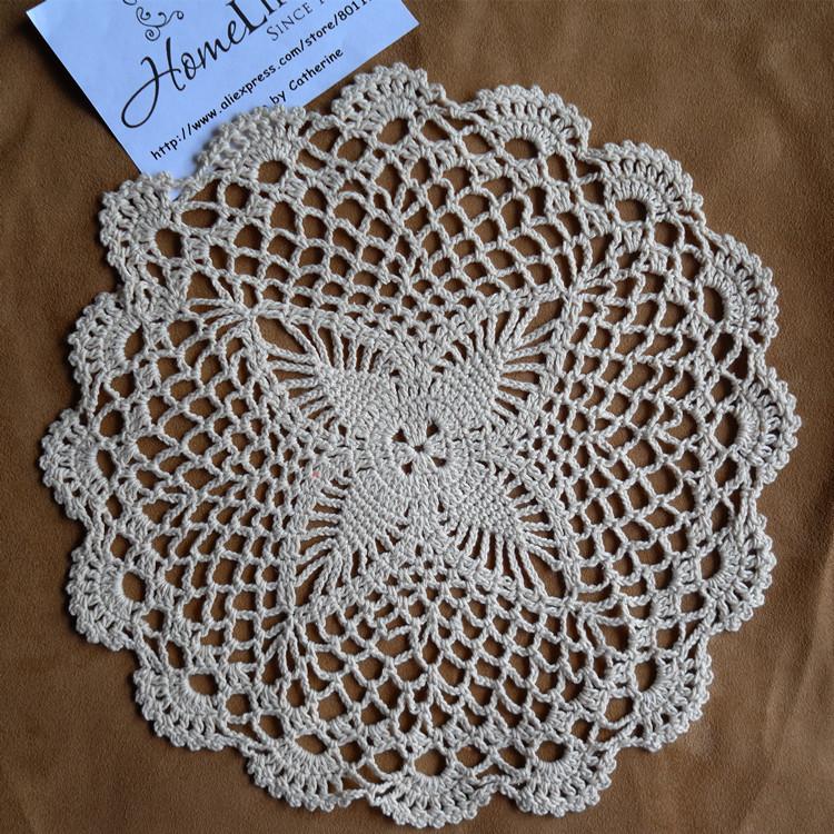 12Pcs/Lot Wholesale 100% Cotton Handmade Crochet Doily Cup Mat Crochet Applique White/Beige Coaster Free Shipping(China (Mainland))