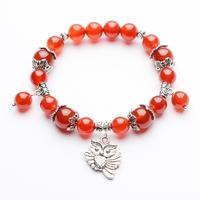 Free shipping Red agate tibetan silver bracelet Women popular gift