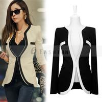 Free Shipping! Summer Blouses Women Blazer Coat Slim Jacket Sleeve V-Neck Black White One Button Suit OL Outerwear 185-0002