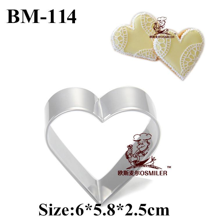 Atacado da forma do coração biscoito e molde do bolinho molde de aço inoxidável especialmente partido cortador de biscoitos de metal TBM-114(China (Mainland))