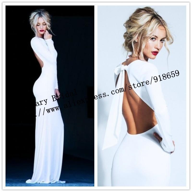 Long Sleeve High neck White /Ivory Backless Sheath Evening Prom Dress with elasticity Custom Made long women dress(China (Mainland))