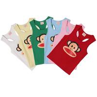 Retail New 2014 Summer Children Clothes Boys Girls Clothing Vest Kids T shirt Cotton Candy color Hot sale #LS 7-9