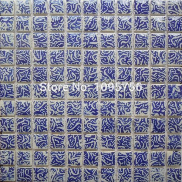 Azul e branco da porcelana mosaico banheiro telha da parede grátis frete NL091(China (Mainland))