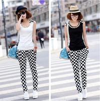 (Shirt+Pants) 2014 fashion plaid design casual women sport suit clothing set o-neck sleeveless sportswear tracksuit jogging suit