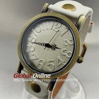 2014 Hot White Leather Strap Vintage Watches Hour Clock Stylish Quartz Ladies Women Men Wrist Watch Free Shipping