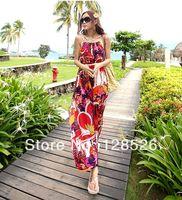 Women Summer Beach Dress New 2014 Holiday Ladies Beach Long Sundress Girls Casual Print Dress 004Drop shipping
