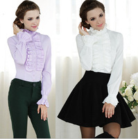 New 2014 Spring vintage Long-sleeve Women blouse flouncing stand collar Ladies blouses shirts Women work wear S M L XL XXL