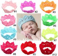 2014 New Fashion Crochet Crown Headband Lovable Newborn Baby Headpiece Strechy Hairband Wholesale 12pcs Assorted Colors