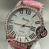 2014 Fashion Women Rhinestone Watch Ladies Diamond Watch Women's Pink Genuine Leather Strap Dress Quartz Wrist Watch
