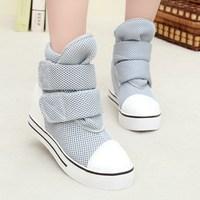 Summer autumn canvas high shoes women velcro gauze platform casual sneaker shoes