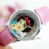 2014 New Arrived Children Cartoon Watches Snow White Girls Quartz Wrist watch Kids Fairy Tale Princess Gift Item Reloj N005