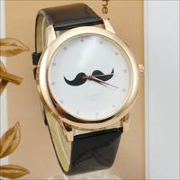 French Fashion Leather belt Mustache Watch Women Men Bonjour Beard Table Watch 5 Colors High Quality