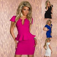 Formal Pencil Office Career Bodycon Dress Lady Work U Neck OL Sexy Peplum Dress Black White Blue Red Plus Size M L XL XXL C0367