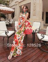 Women Summer Beach Dress New 2014 Holiday Ladies Girls Beach Long Casual Print  Flower Dress 07Drop shipping