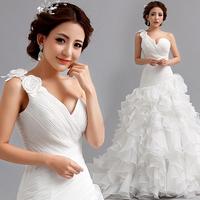 2014 Bride sexy one shoulder princess fish tail lace flowers sweet train wedding dress plus size bandage formal dress