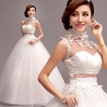 Свадебное платье 2014 новое поступление принцесса кружева алмаз цветок холтер шеи вышивка белый платья повязки Большой размер 486