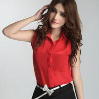 2014 New Spring Summer European American Casual Blouses Popular Sleeveless chiffon women shirt B3770