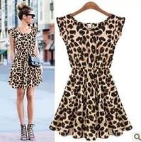 Party sleeveless Fashion Nightclub Summer Sexy Leopard Print Casual women Mini dress 8W014