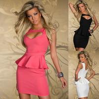 Hot Sale Plus Size M L XL Sexy Hollow Out Chest Peplum Dress Women Ladis Cutout Bandage Tunic Club Dress White Black Pink C0357
