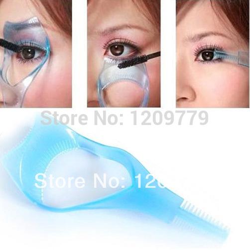 New 3 in1 Mascara Applicator Guide Guard Eyelash Comb Cosmetic Brush Curler H6333 W(China (Mainland))
