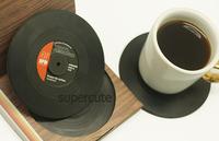 3Set=18pcs  Spinning Retro Vinyl Record Drinks Coasters / Vinyl Coaster Cup Mat