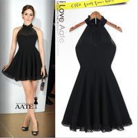 2014 European style factory direct trade of the original single ladies flounced sleeveless Chiffon halter dress