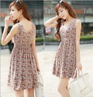 New 2014 Fashion Women summer print floral dress tunic Sleeveless casual summer dresses for women  B0205