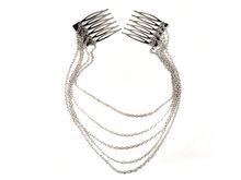 1 x Fashion Punk Hair Cuff Pin Clip 2 Combs Tassels Chains Head Band Silver Gold