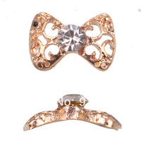 Free Shipping 14x9mm Gold Plated Diamante and Pearl Center Hollow out Bowknot for 3D Alloy Nail Art Tips Decoration 100 pcs/lot
