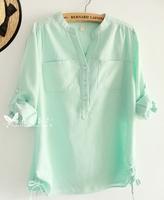 new 2014 spring women blouse Europe and America Temperament Leisure V-neck Long-sleeved shirt Chiffon shirt Free shipping