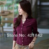 2013 New Fashion Casual Women's Chiffon Tops Blouse Drape Pleated turn down neck Solid Women Long Sleeve Shirts