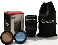 Free shipping  wholesale: fashion the 6th stainless steel Coffee camera lens mug cup  60pcs/lot