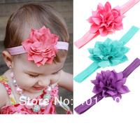 Wholesale Fashion 2014 Beautiful Lotus Flowers Headband Soft  Satin Elastic Hairband for Baby Girls Children's Hair Accessories