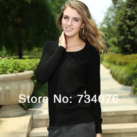 2014 spring new high quality 100% pure cashmere sweater women warm Knitted sweater  genuine. diamond decoration TY16
