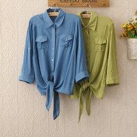 1134HOT Sale! Free Shipping Fashion Camisas Women Cotton blouse new 2014 Half Sleeve Shirt Short Style Cardigan Blouse Waistcoat