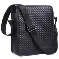 Fashion Men Genuine Leather Messenger Shoulder Bag Hand Knitted Embossed Bag Summer Hot Sale TIDING 1107