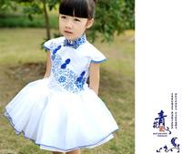 Chinese style children's the dress 5pcs/lot wholesale girl party dress white & blue porcelain design princess dresses for kids