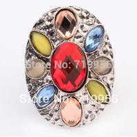 Fashion lady women jewelry vintage bohemia style colorful rhinestone rings SR311
