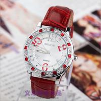 Retail 2014 New Brand Women Rhinestone PU Leather Strap Quartz Watch,Fashion Women Dress Wrist Watch With Logo,Gift Watch