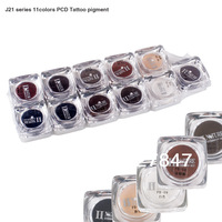 11 Colors J21 Square Bottles PCD Tattoo Ink Pigment Professional Permanent Makeup Ink Supply Set For Tattoo Eyebrow Lip Make up