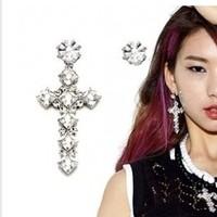 Personality gem cross asymmetrical earrings stud earring