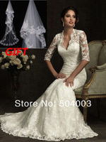 2014 Berta Elegant Slim Fit Mermaid Gown White Lace Long Sleeve Chapel Train Backless Wedding Dresses Bridal Dress Wedding Gowns