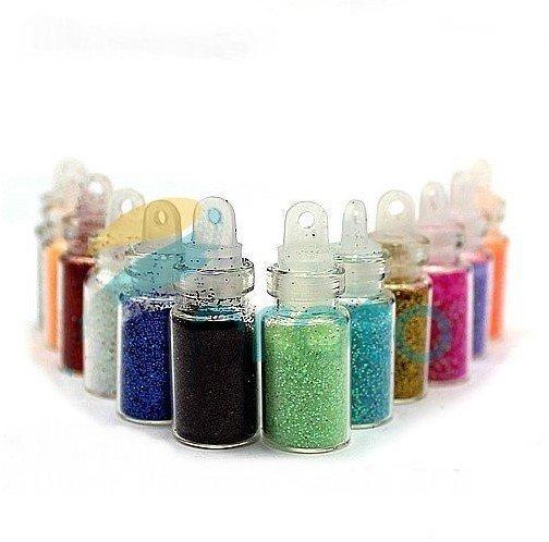 12 Color Glitter Decor Nail Art Powder Dust Bottle Set(China (Mainland))
