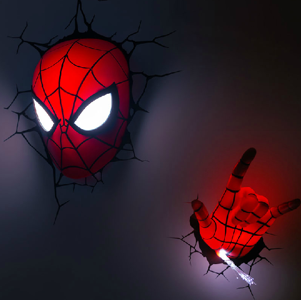 Avengers series 2015 creative spider man a set novelty 3d wall lamps bedroom - Decoration murale led ...