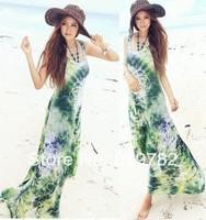 2104 New Women Summer fashion elastic ice silk bohemian long dress deep V neck Halter backless Beach dress Green blooming dress