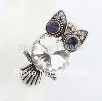 Fashion lady women jewelry vintage glass and rhinestone owl alloy rings SR314